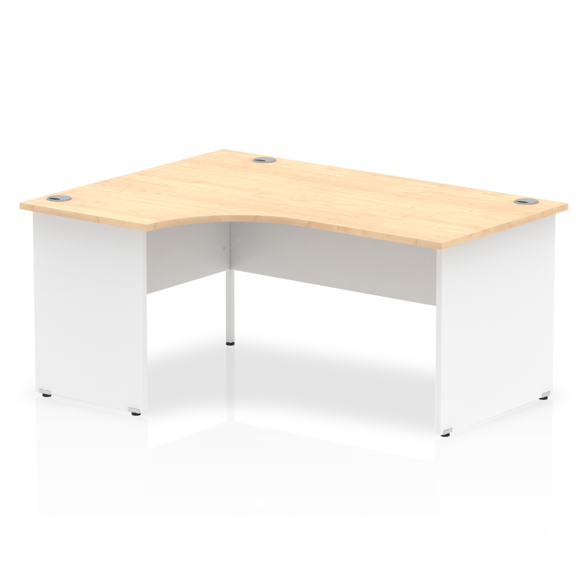 Trexus Desk Radial Left Hand Panel End 1600x800mm Maple Top White Panels Ref TT000113