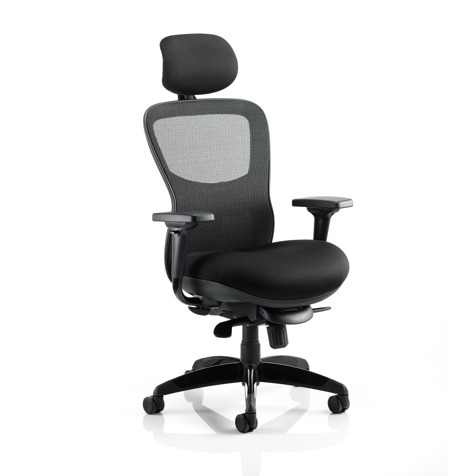 Task seating Adroit Stealth Shadow Ergo Posture Chair With Arms With Headrest Airmesh Seat Mesh Back Black Ref KC0158