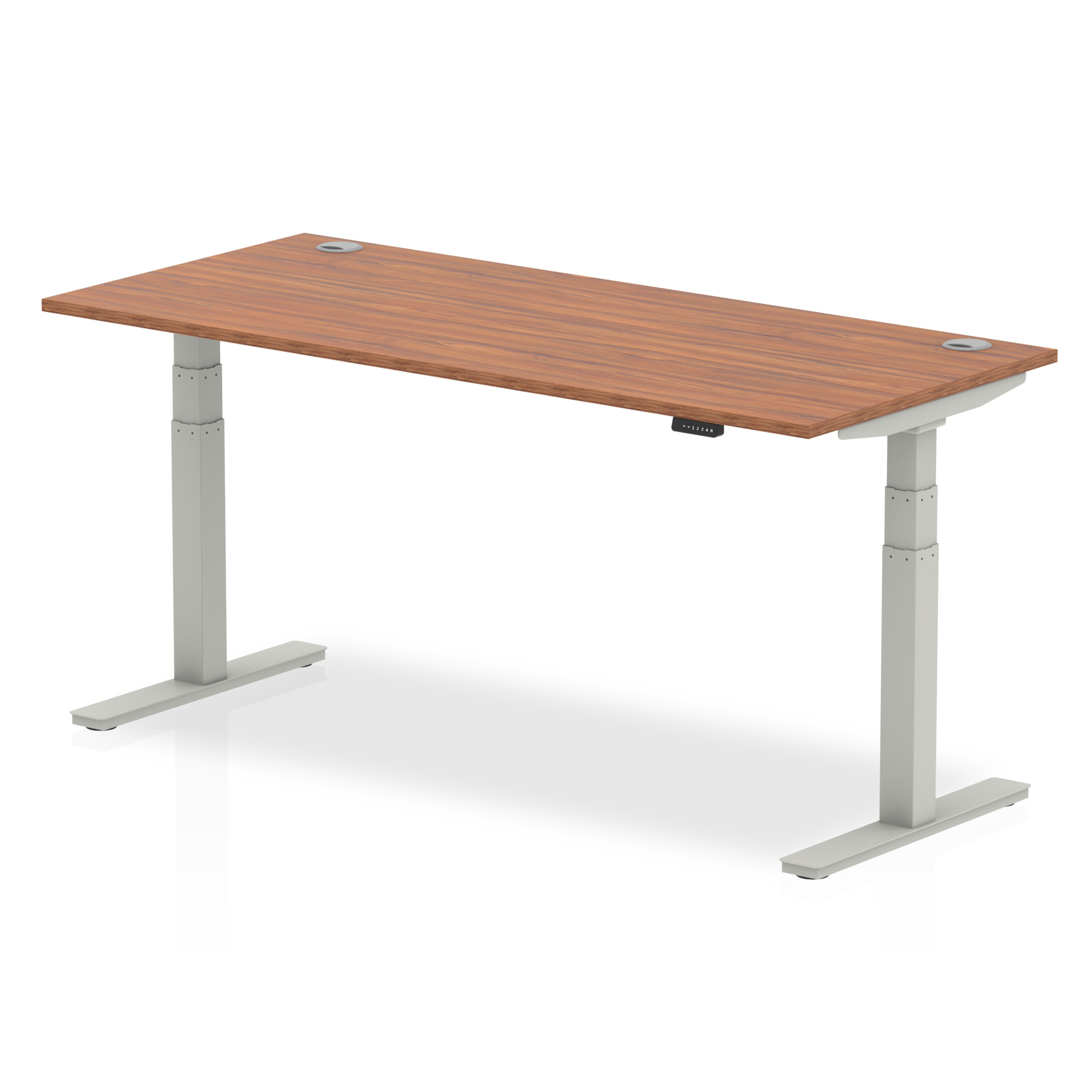 Trexus Sit Stand Desk With Cable Ports Silver Legs 1800x800mm Walnut Ref HA01088