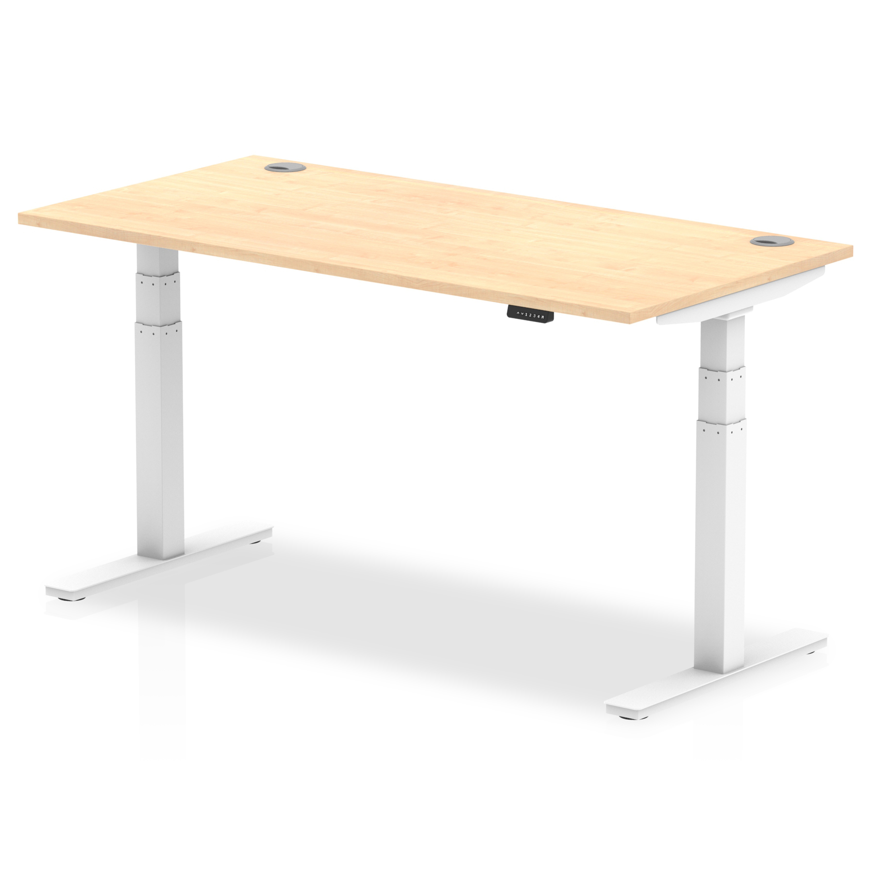 Trexus Sit Stand Desk With Cable Ports White Legs 1600x800mm Maple Ref HA01115