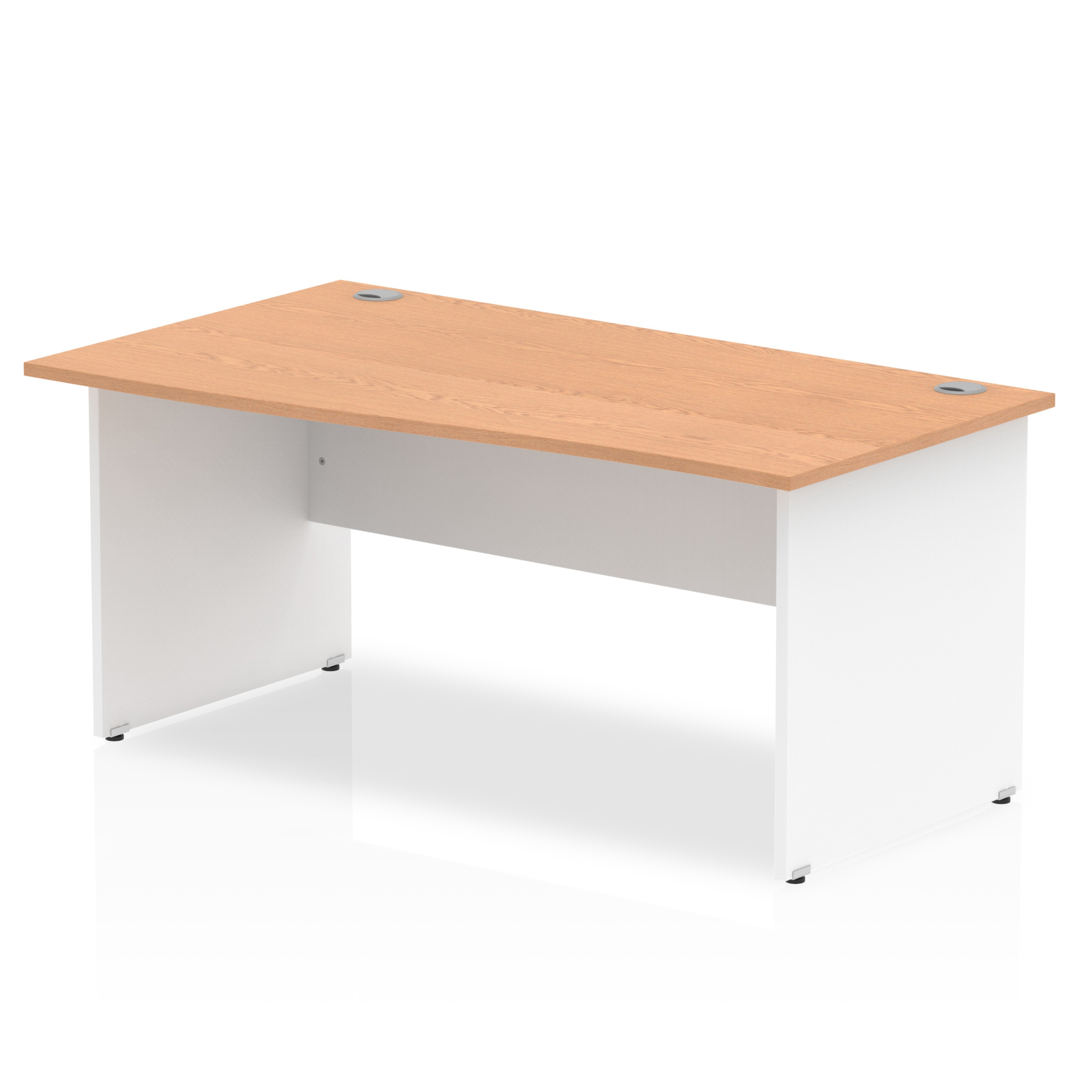 Trexus Desk Wave Left Hand Panel End 1600x800mm Oak Top White Panels Ref TT000065