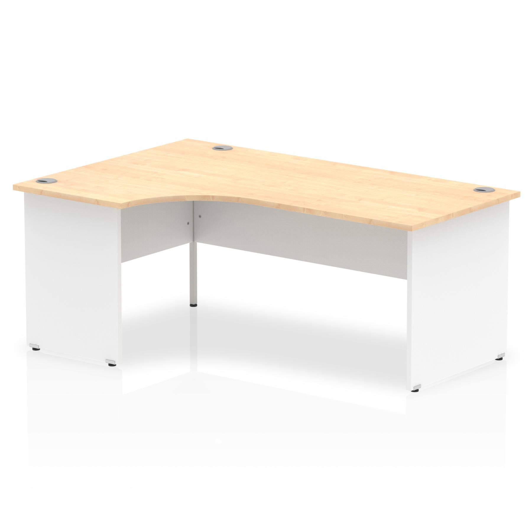 Trexus Desk Crescent Left Hand Panel End 1800x800mm Maple Top White Panels Ref TT000114