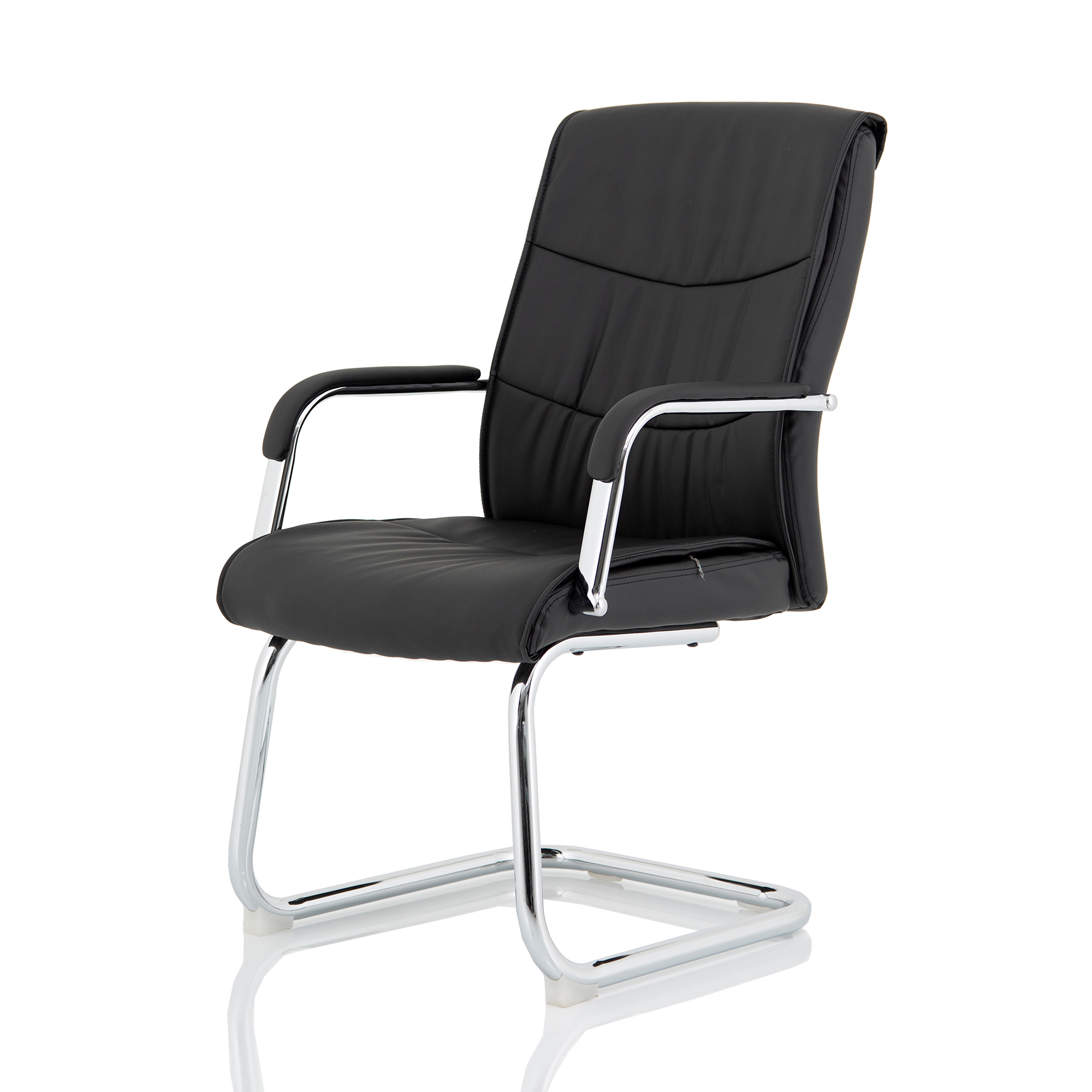 Executive seating Trexus Carter Black Luxury Faux Leather Cantilever Chair With Arms Ref BR000185