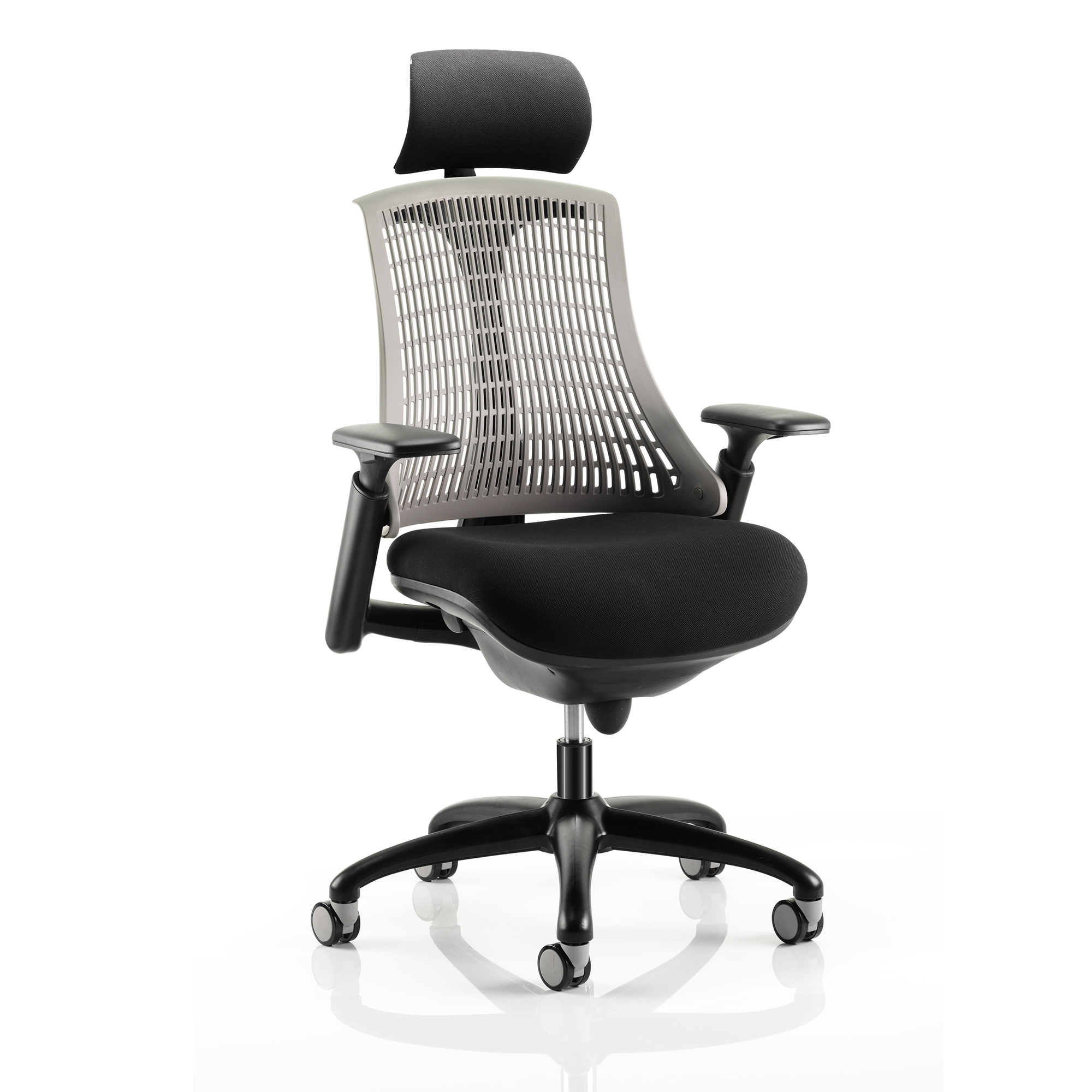 Trexus Flex Task Operator Chair With Arms And Headrest Black Fabric Seat Grey Back Black Frame Ref KC0109