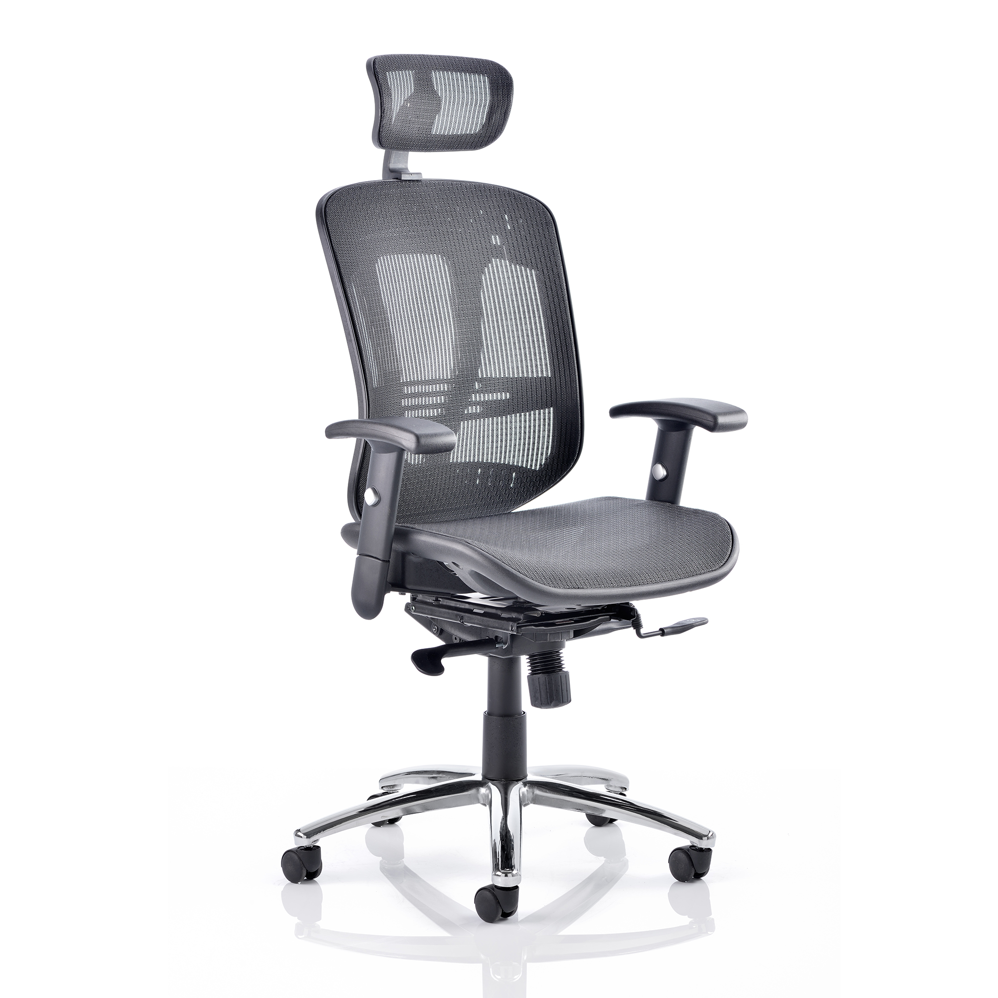 Executive seating Adroit Mirage II Executive Chair With Arms With Headrest Mesh Black Ref KC0148