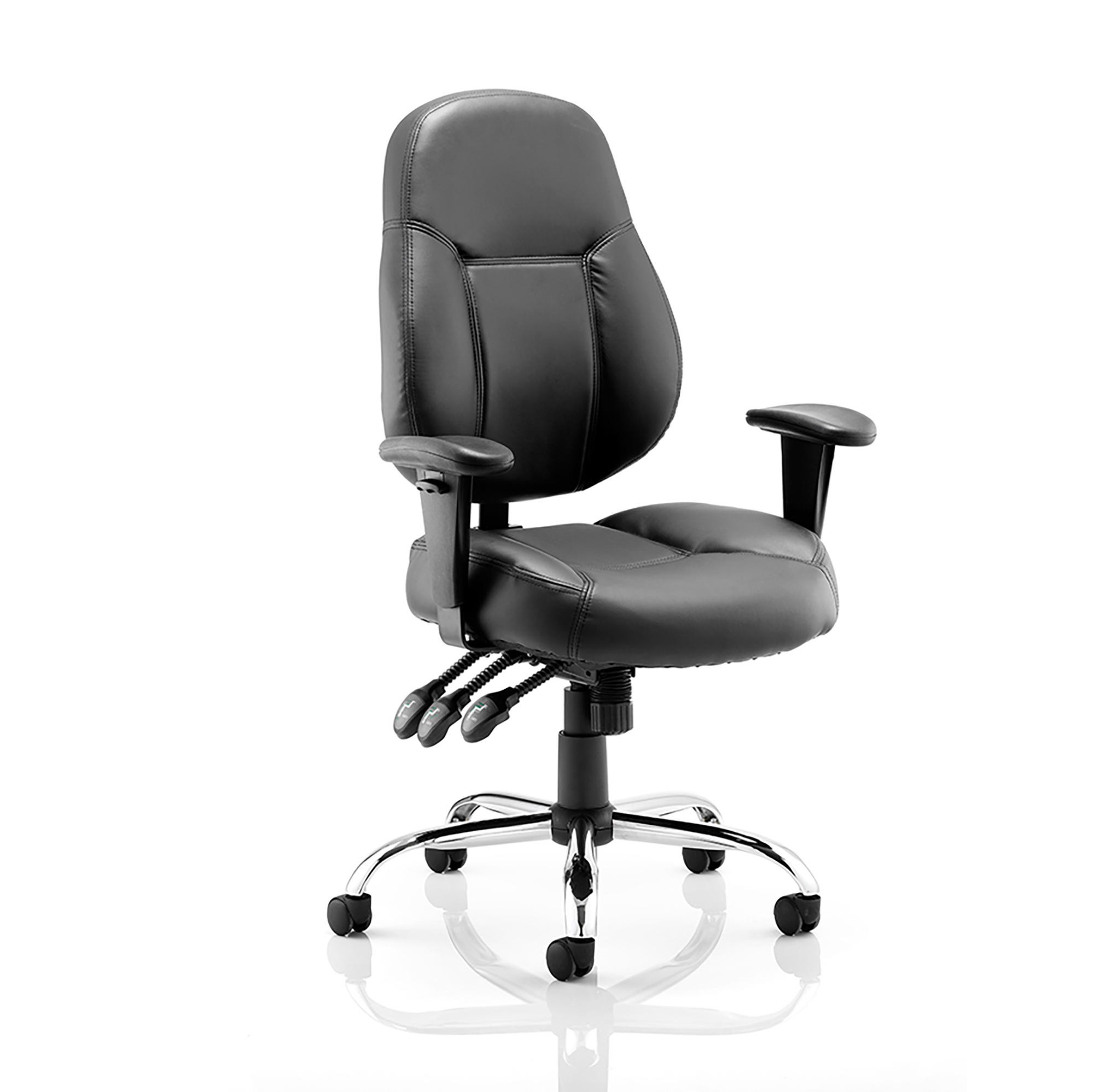 Trexus Storm Task Operator Chair With Arms Bonded Leather Black Ref OP000129