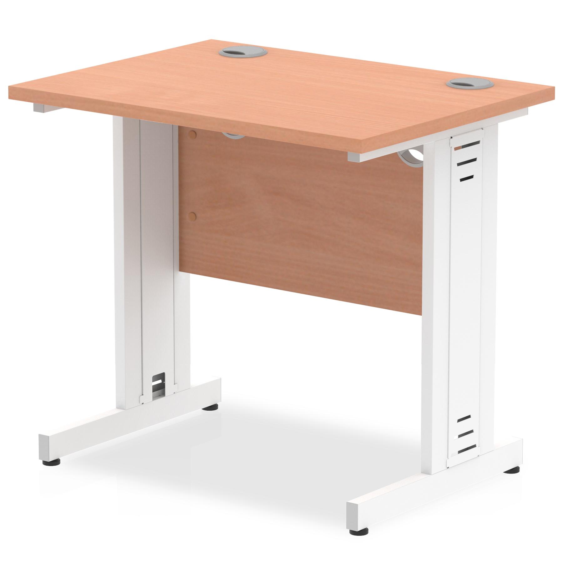 Trexus Desk Rectangle Cable Managed White Leg 800x600mm Beech Ref MI002888