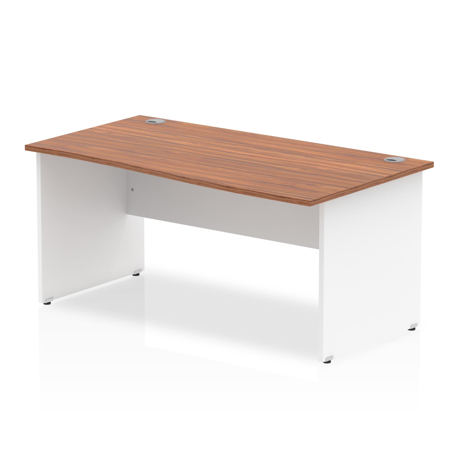Trexus Desk Wave Right Hand Panel End 1600x800mm Walnut Top White Panels Ref TT000067