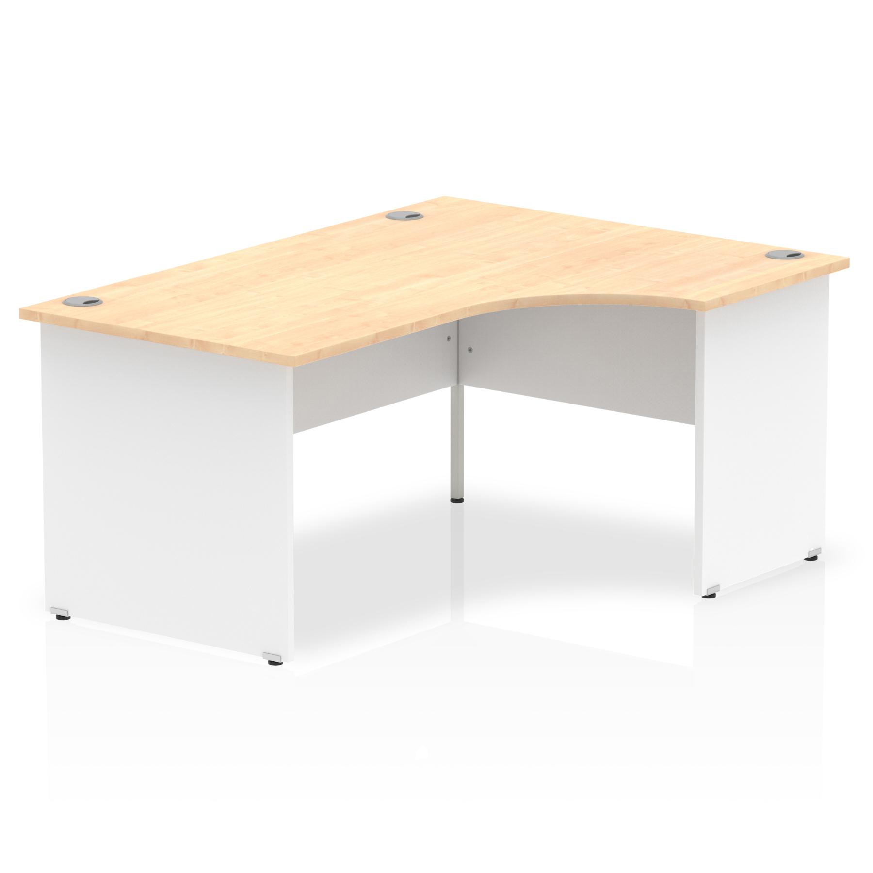 Trexus Desk Crescent Right Hand Panel End 1600x800mm Maple Top White Panels Ref TT000115