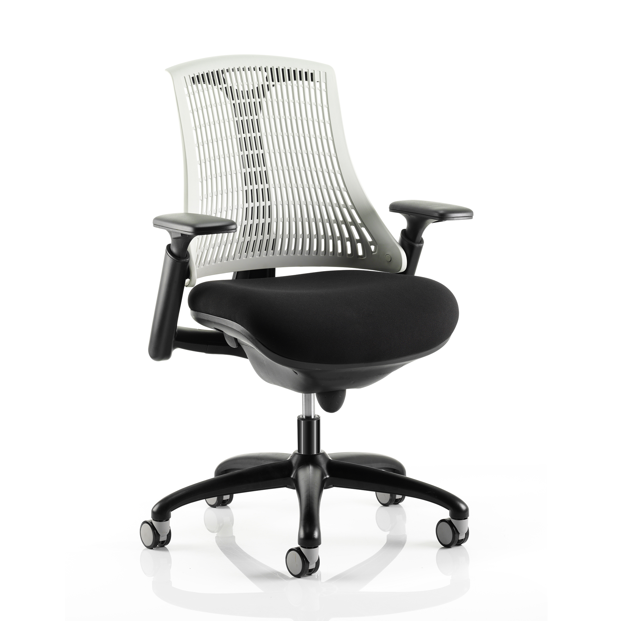 Trexus Flex Task Operator Chair With Arms Black Fabric Seat Moonstone White Back Black Frame Ref KC0072