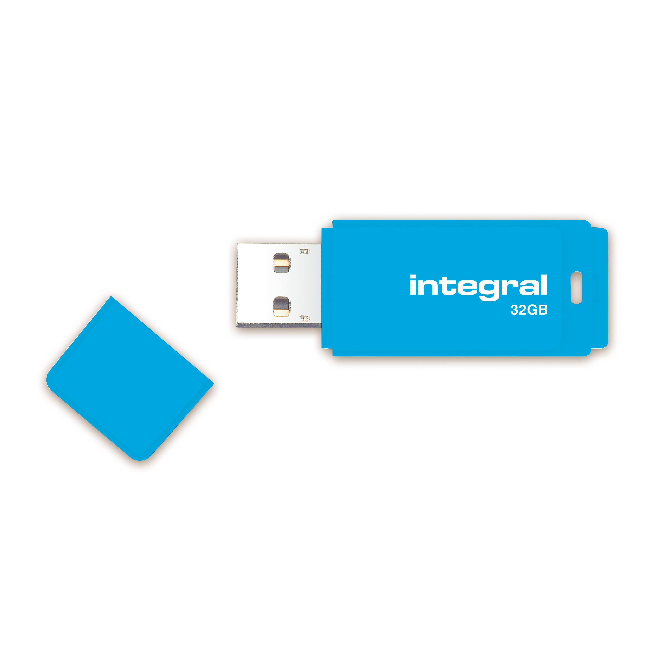 Integral Neon USB Drive 2 0 32GB Blue Ref INFD32GBNEONB