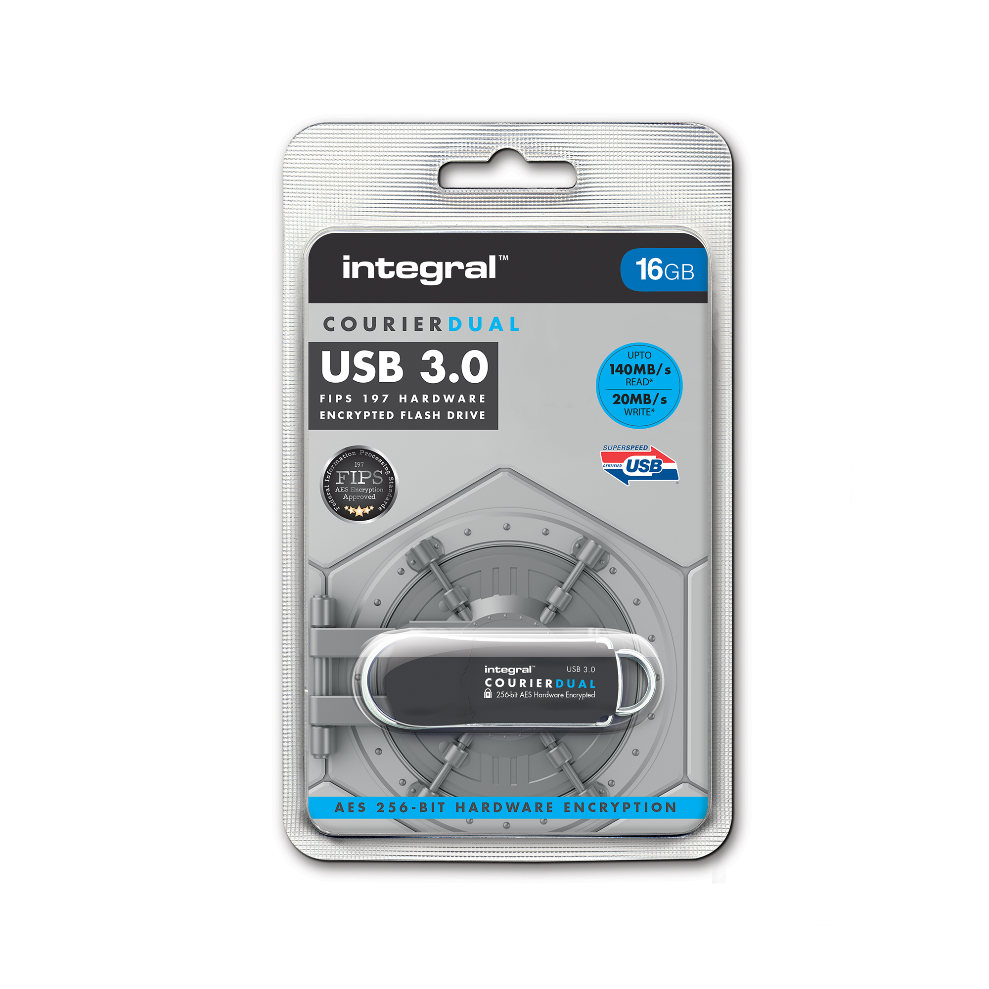Memory Sticks Integral Courier Dual USB 3.0 FIPS 197 16GB Ref INFD16COUDL3.0-197