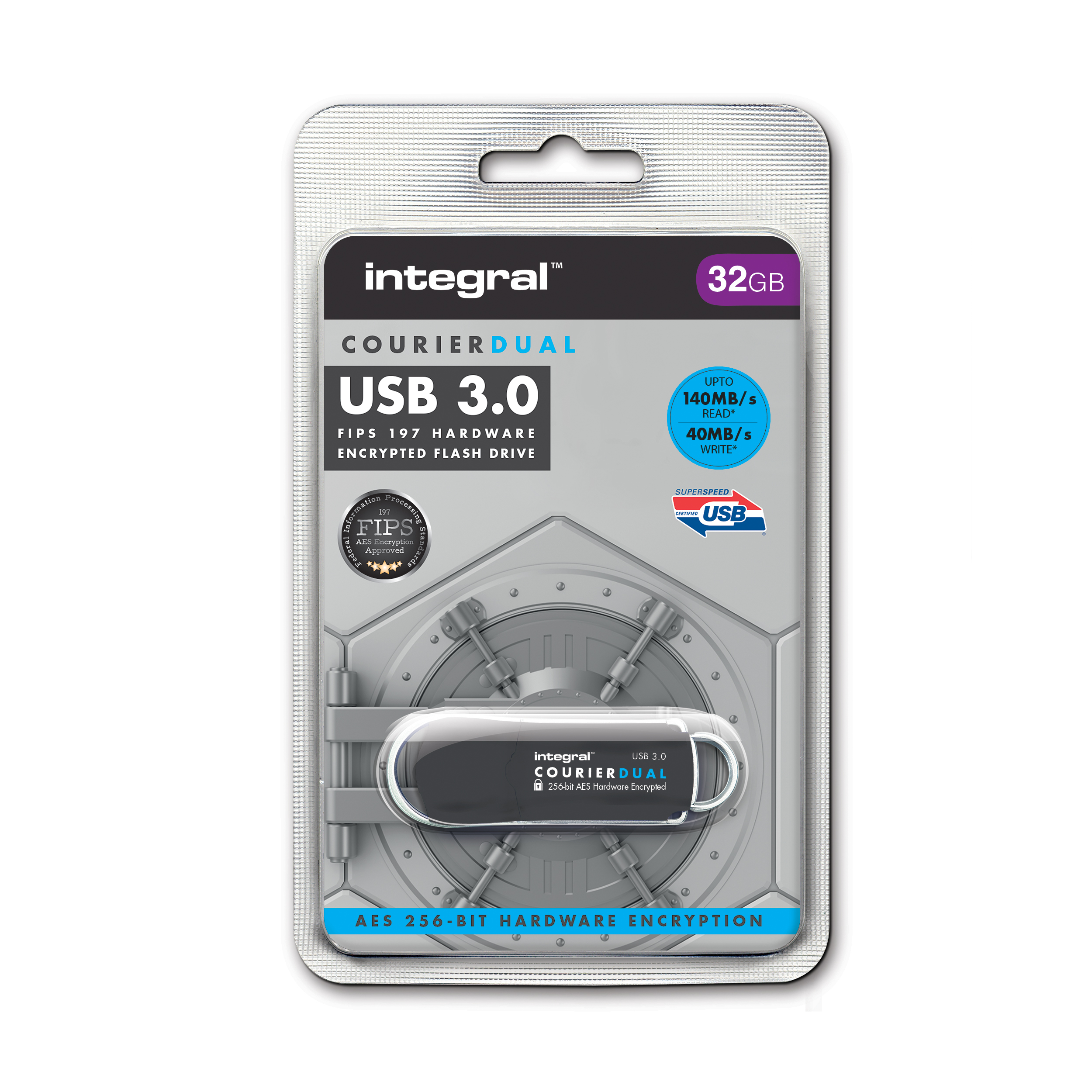 Memory Sticks Integral Courier Dual USB 3.0 FIPS 197 32GB Ref INFD32COUDL3.0-197