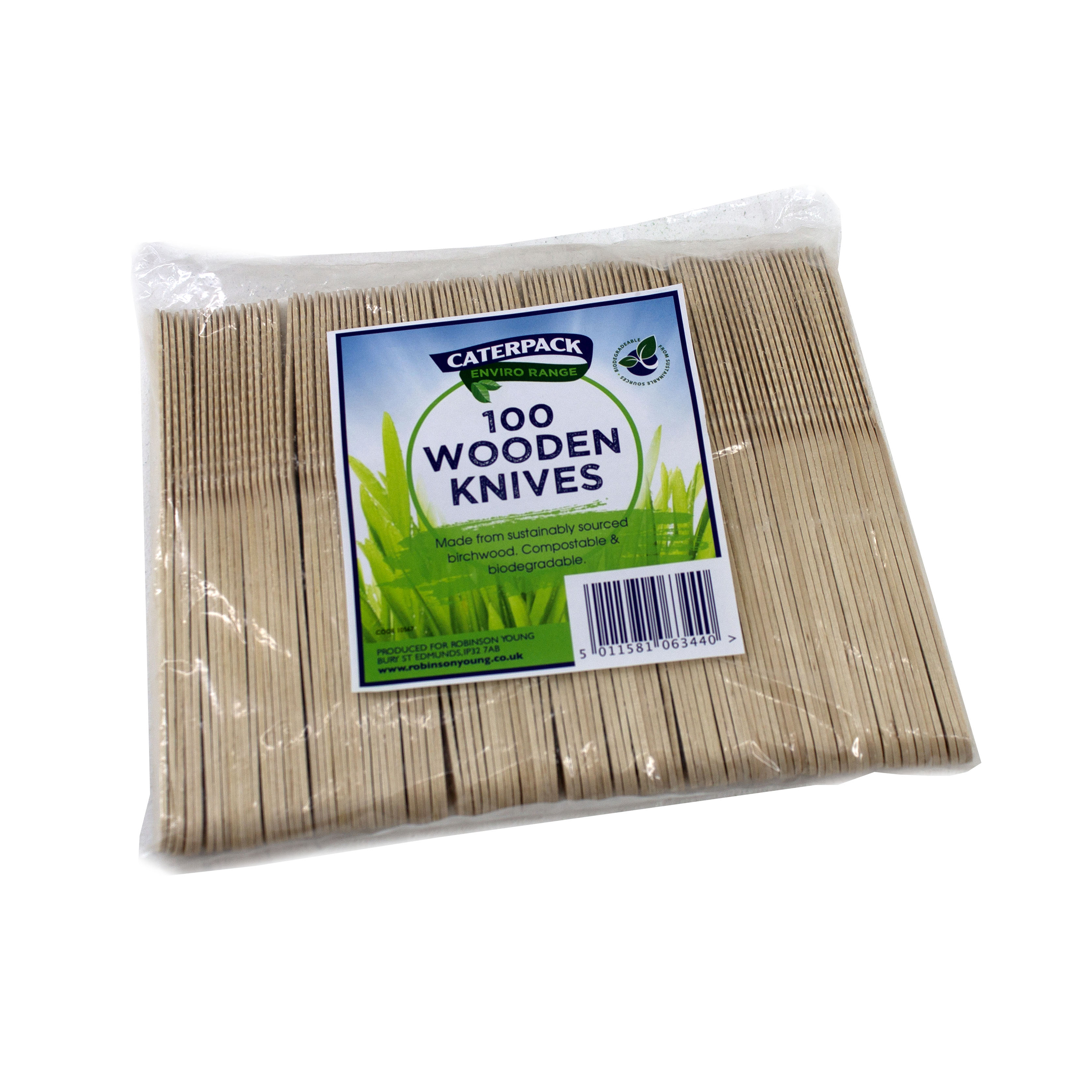 Cutlery Natural Birchwood Biodegradable Knife Pack 100