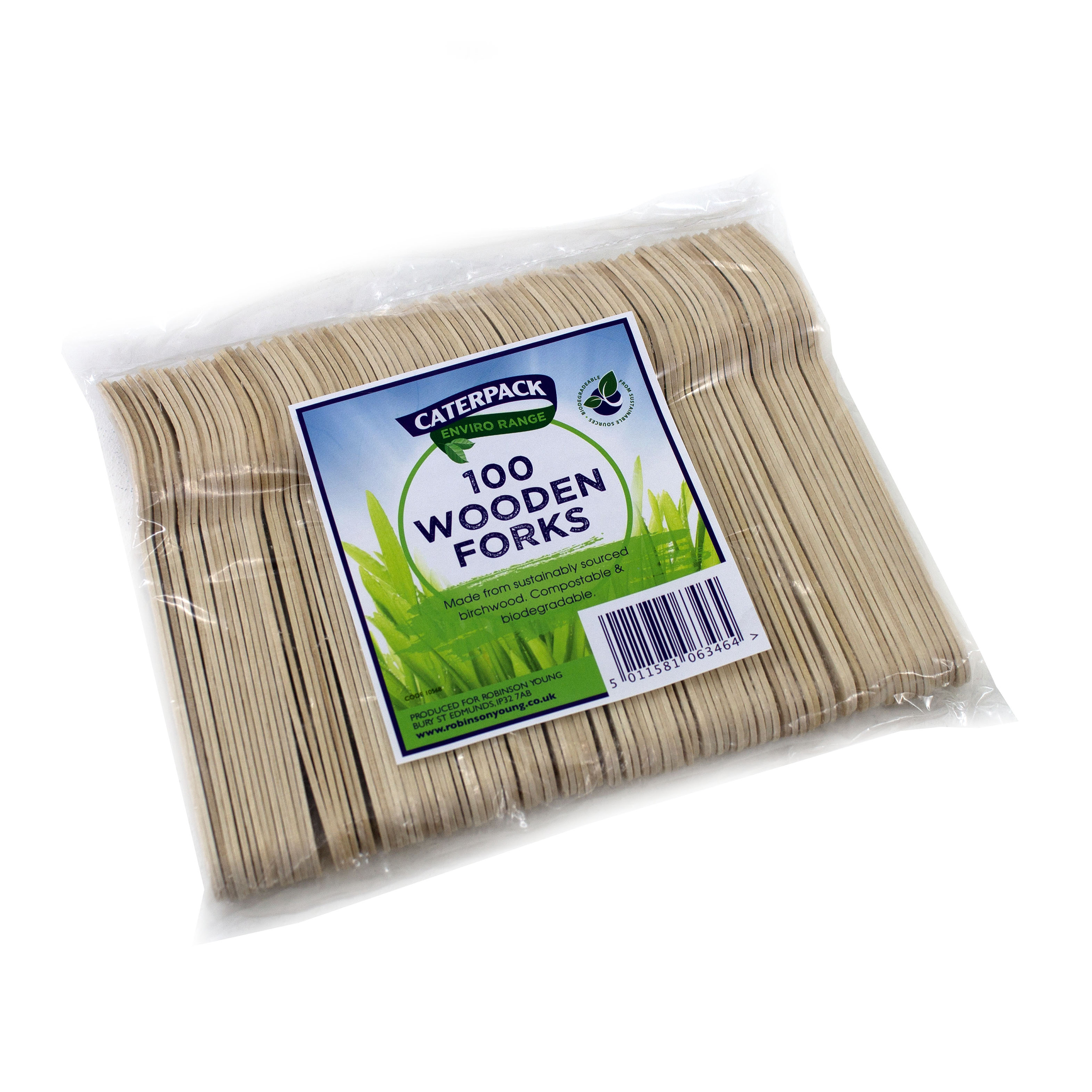 Cutlery Natural Birchwood Biodegradable Fork Pack 100