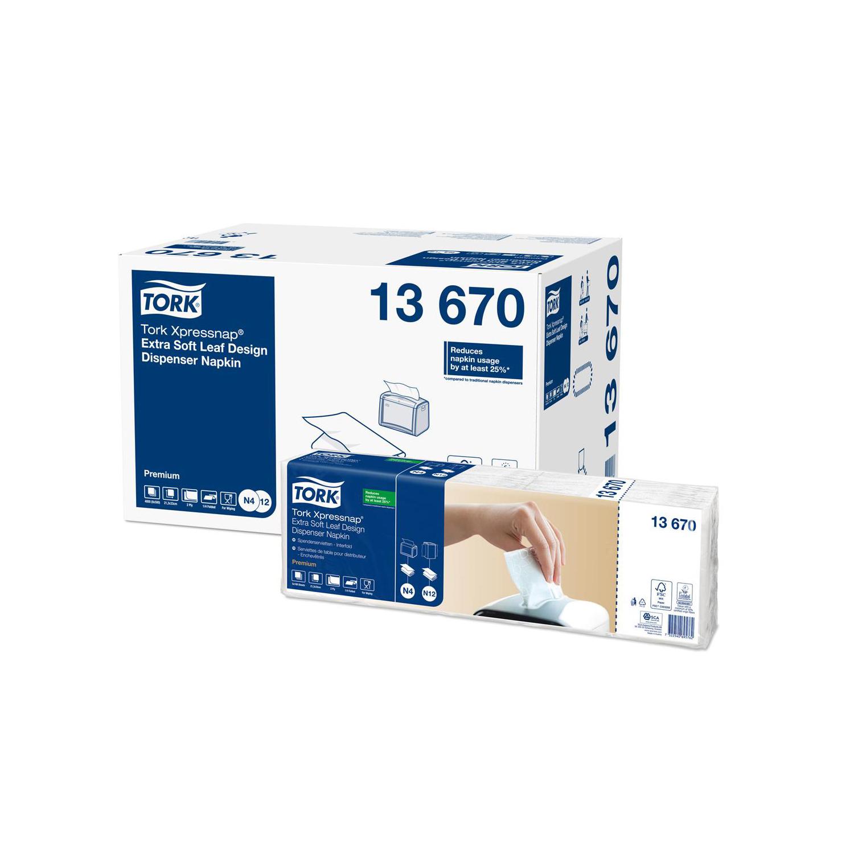 Tork Xpressnap Leaf Napkin 2-Ply White Ref 13670 Pack 500