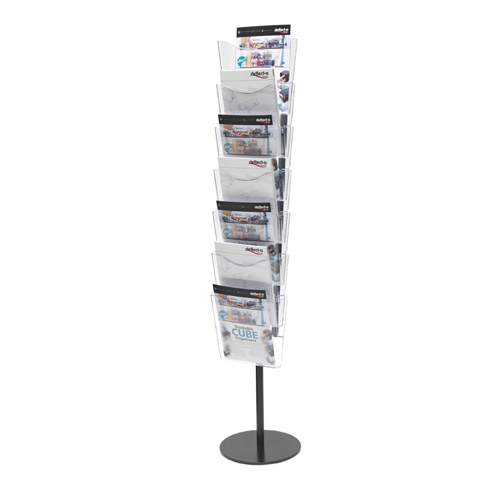 Literature Holders Deflecto Literature Floor Stand Unit Portrait 7 x A4 Pockets 320x320x1485mm Crystal Ref CP082
