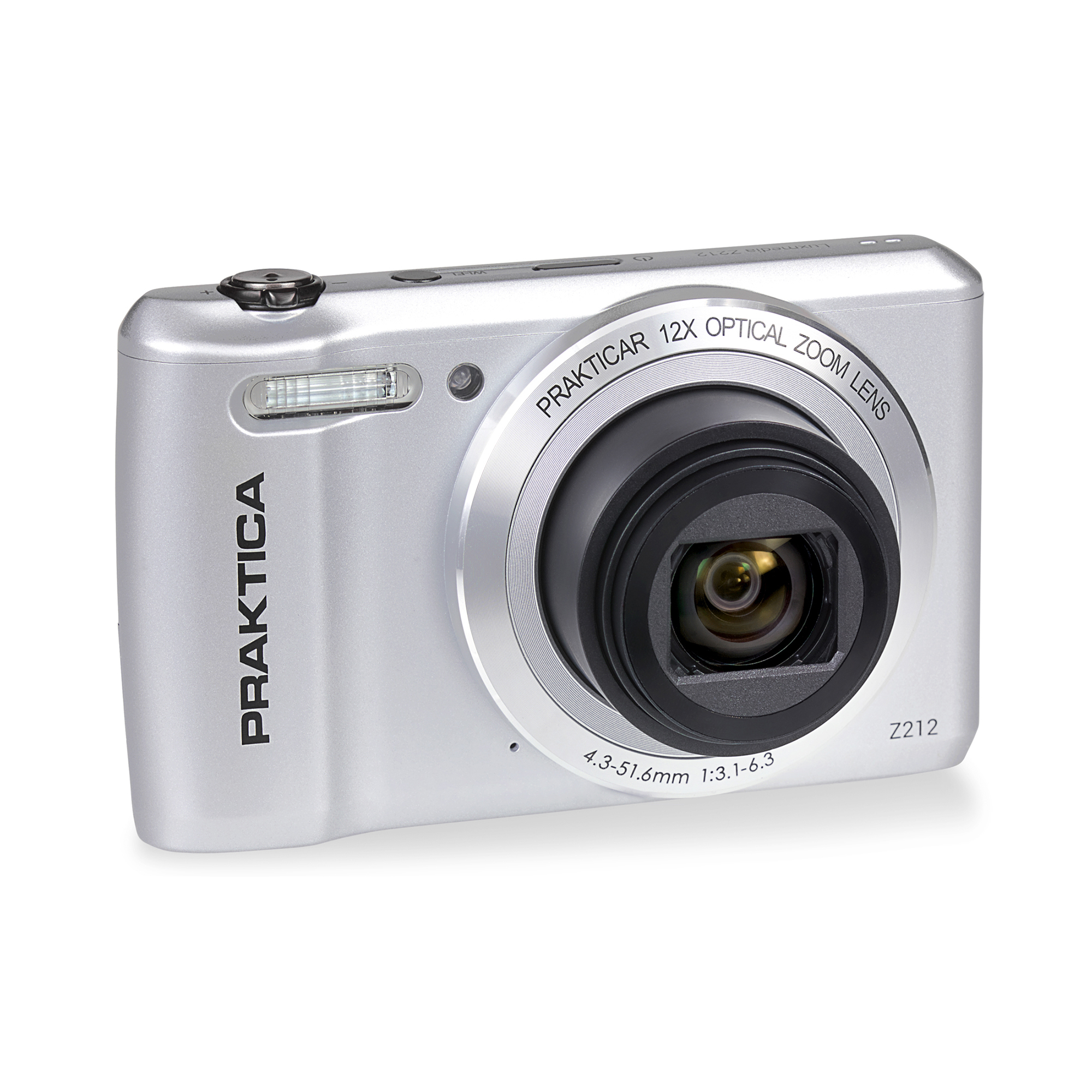 Cameras Praktica Z212 Digital Camera Kit 12x Optical Zoom Case & 32GB Micro SD Card Silver Ref PRA242