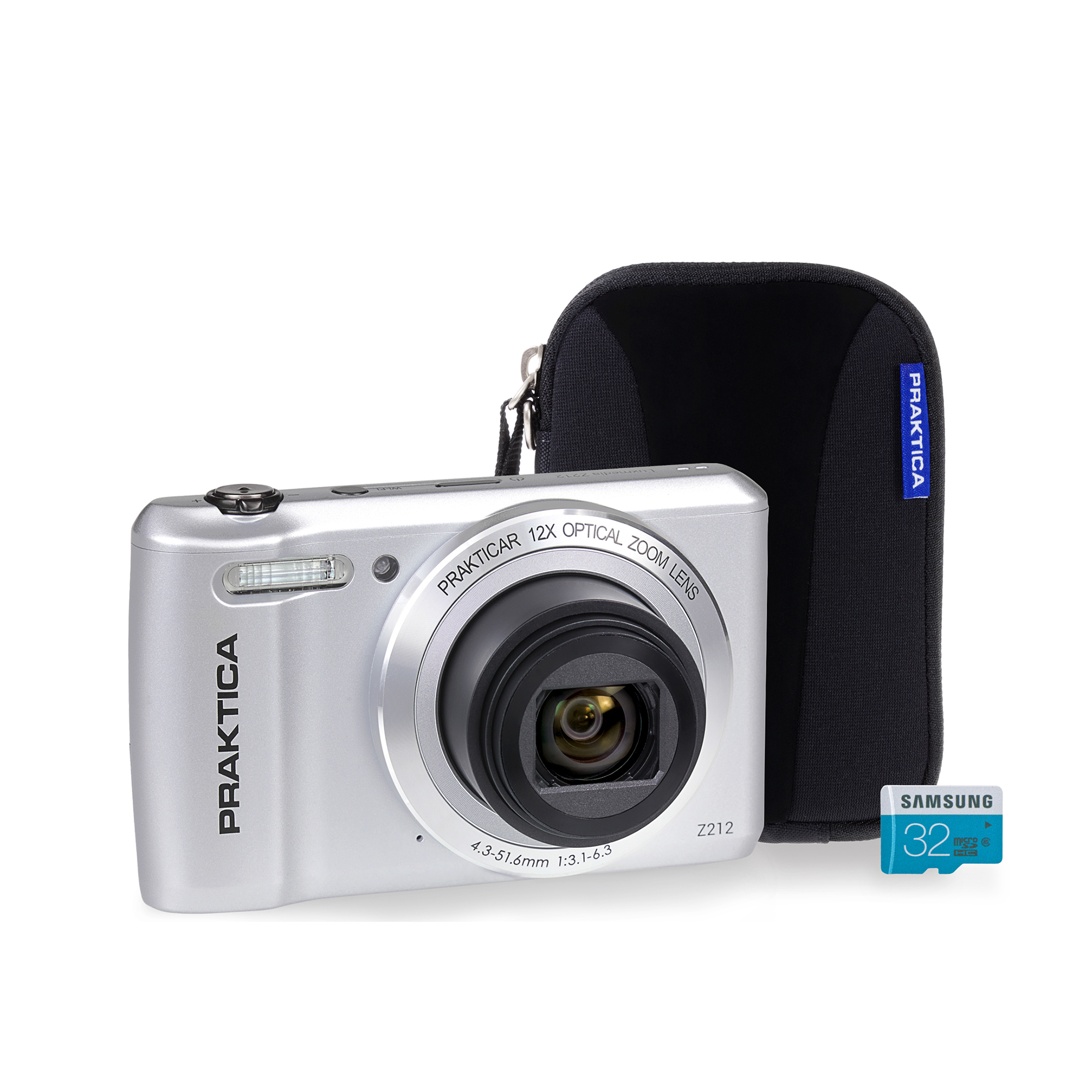 Praktica Z212 Digital Camera Kit 12x Optical Zoom Case & 32GB Micro SD Card Silver Ref PRA242