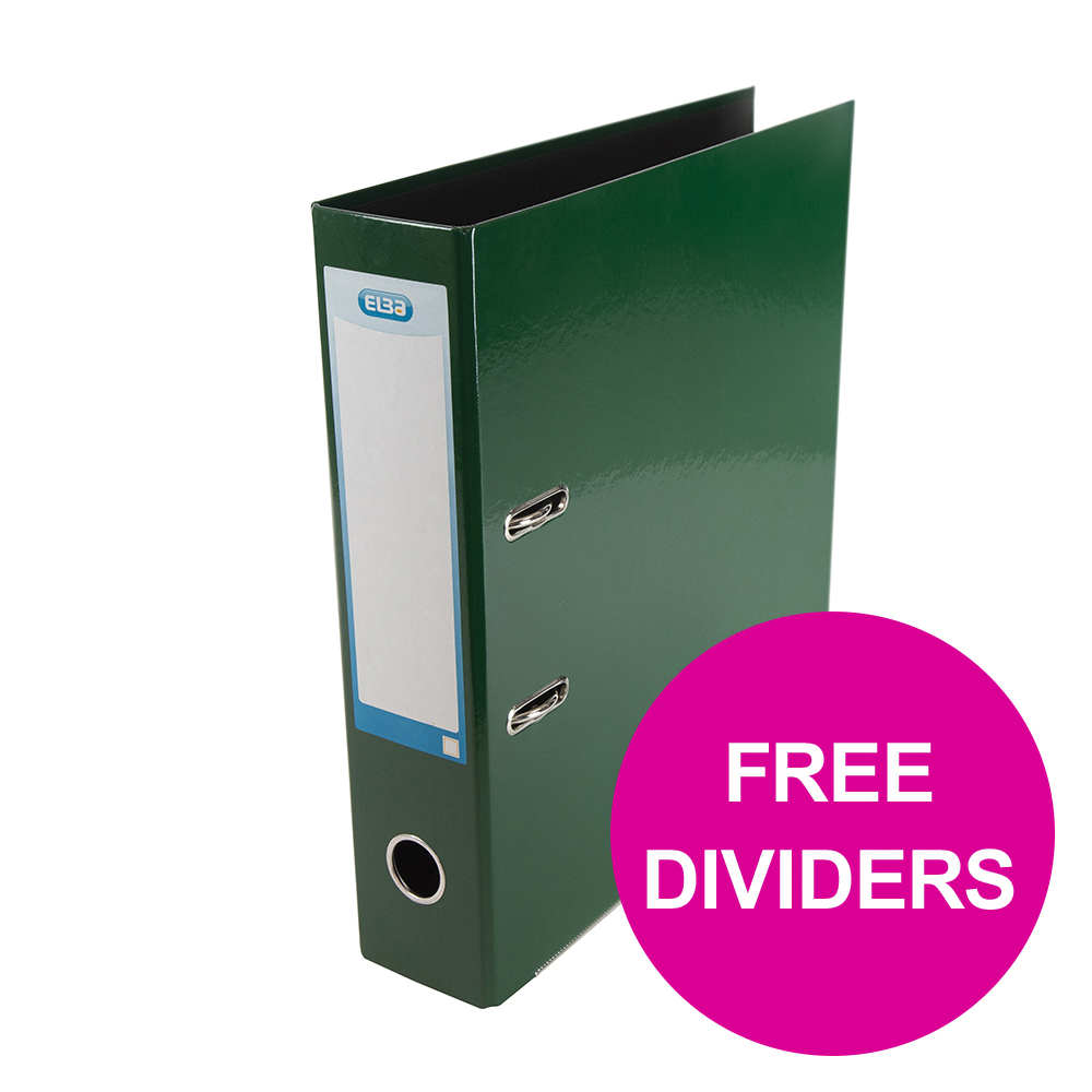 Lever arch file Elba Classy Lever Arch File 70mm Cap A4+ Grn Ref 400107388 FREE Pack 10-part Dividers Jan 12/20