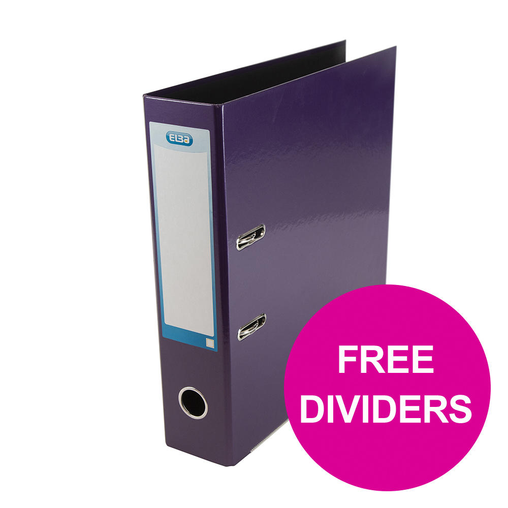 Lever arch file Elba Classy Lever Arch File 70mm Cap A4+ Met Purp Ref 400021021_XX1220 FREE Pk 10-pt Dividers Jan 12/20