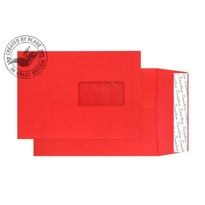 Purely Packaging Envelope Gusset P&S 140gsm C5 Window Red Ref 6061W Pack 125 *10 Day Leadtime*