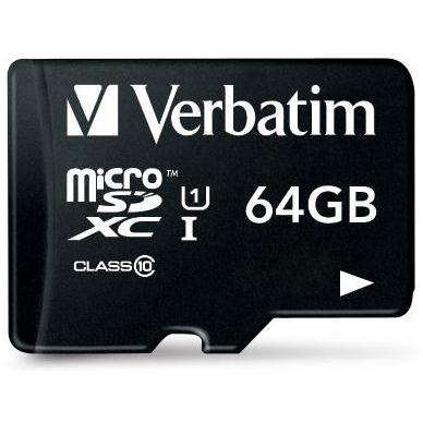 Verbatim Micro SDXC Card Including Adapter 64GB Black Ref 44084