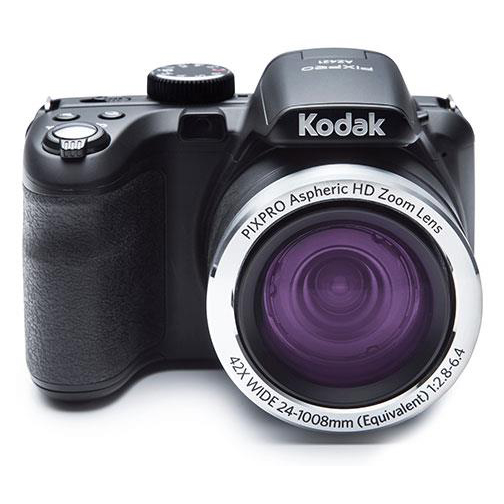 Kodak PIXPRO Camera Kit 20MP 42x Optical Zoom HD Video 24mm Wide Angle Black Ref AZ422-16GBCASE