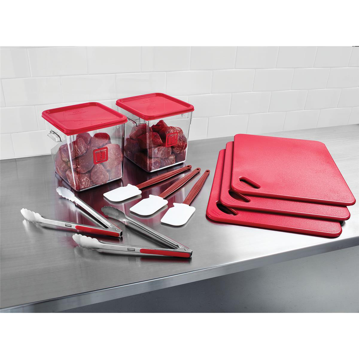 Rubbermaid Food Service Kit 12 Piece Colour-coded Red