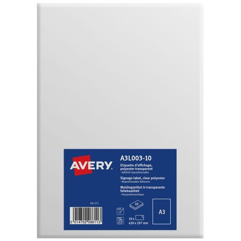 Avery Labels for Windows/Glass Repositionable A3 Clear Ref A3L003-10 Pack 10