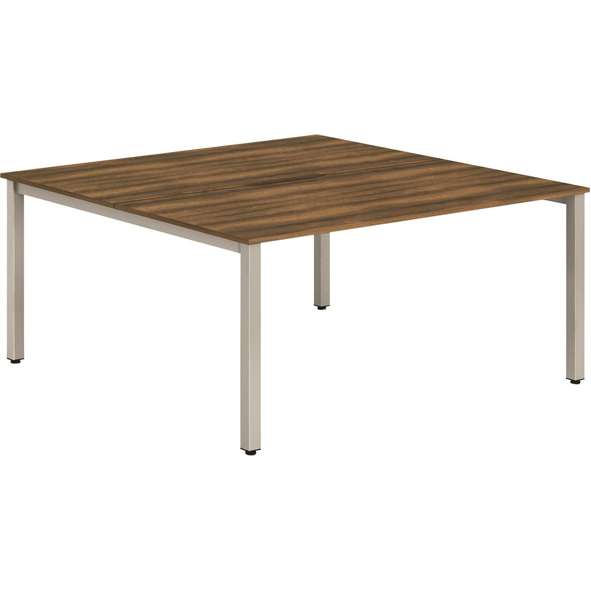 Trexus Bench Desk 2 Person Back to Back Configuration Silver Leg 1200x1600mm Walnut Ref BE179