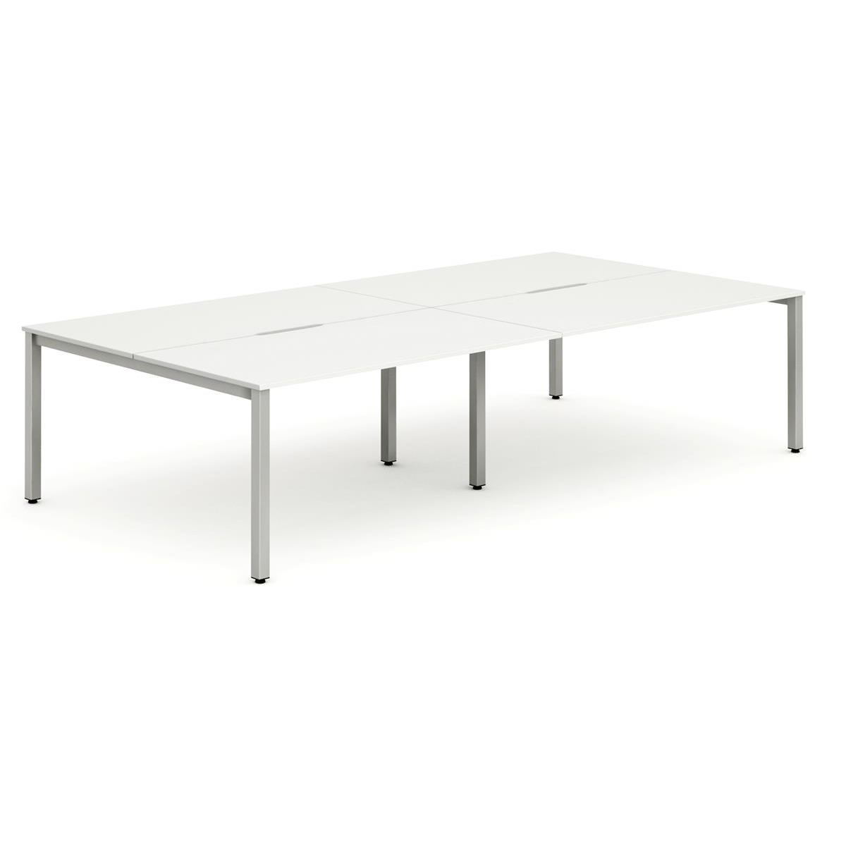 Trexus Bench Desk 4 Person Lockable Sliding Top 1400mm White with Silver Frame