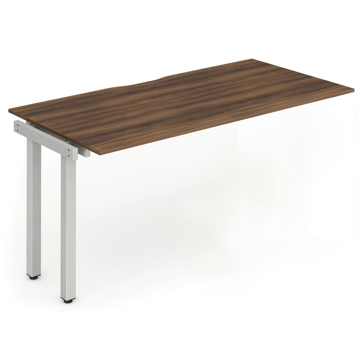 Trexus Bench Desk Single Extension Silver Leg 1600x800mm Walnut Ref BE329