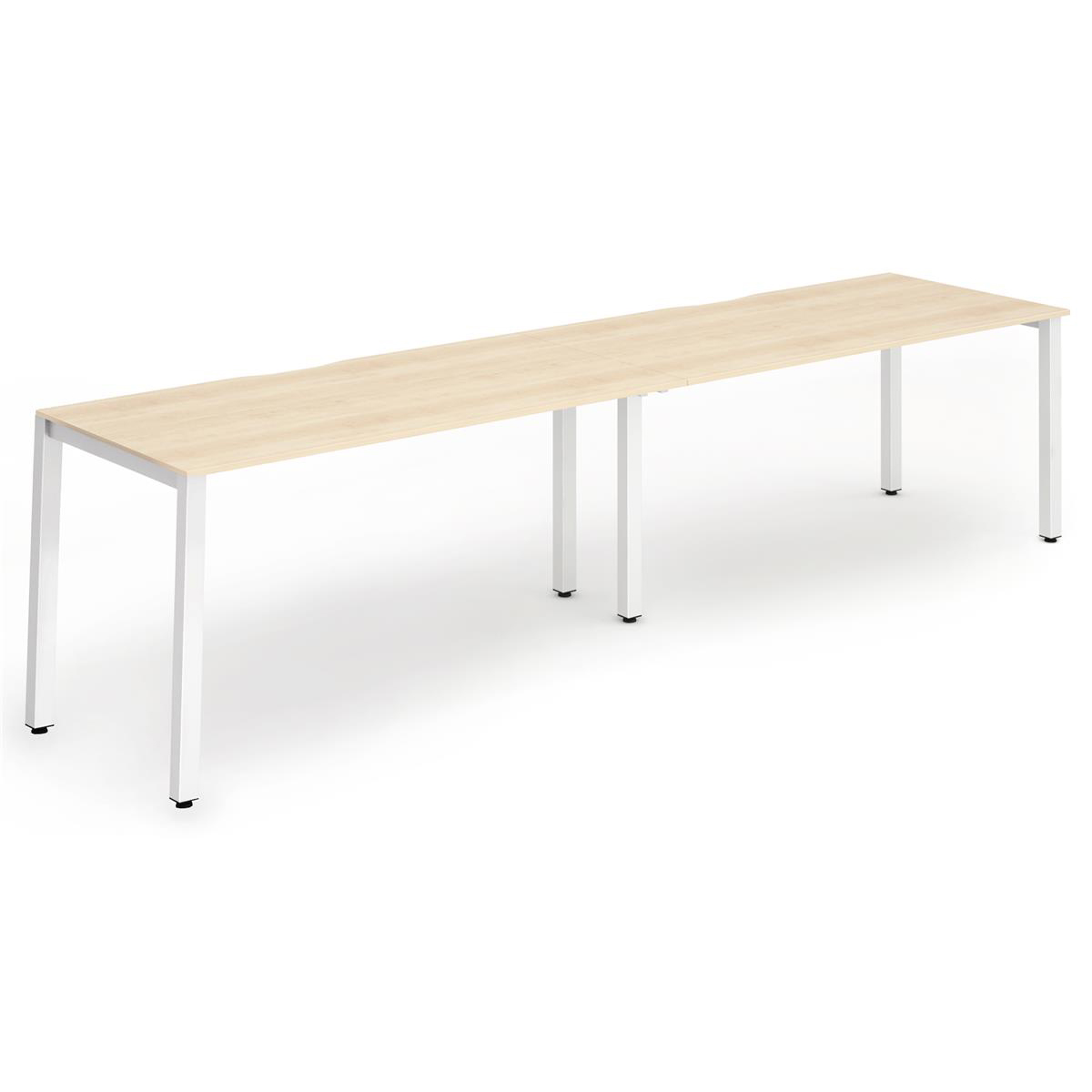 Trexus Bench Desk 2 Person Side to Side Configuration White Leg 3200x800mm Maple Ref BE346