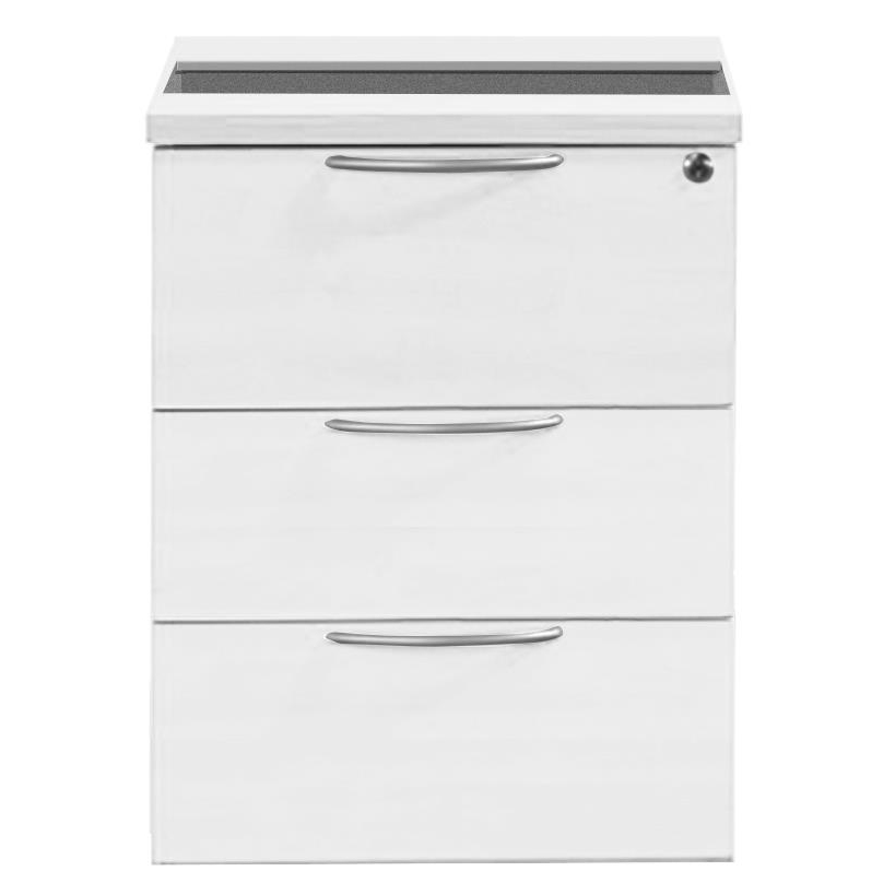 Sonix 3 Drawer Fixed Pedestal 430x565x490mm Polar White Ref w9148wh