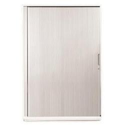 Sonix Midi Tambour Door Cupboard 1000x525x1200mm Polar White/Silver Ref w9869wh