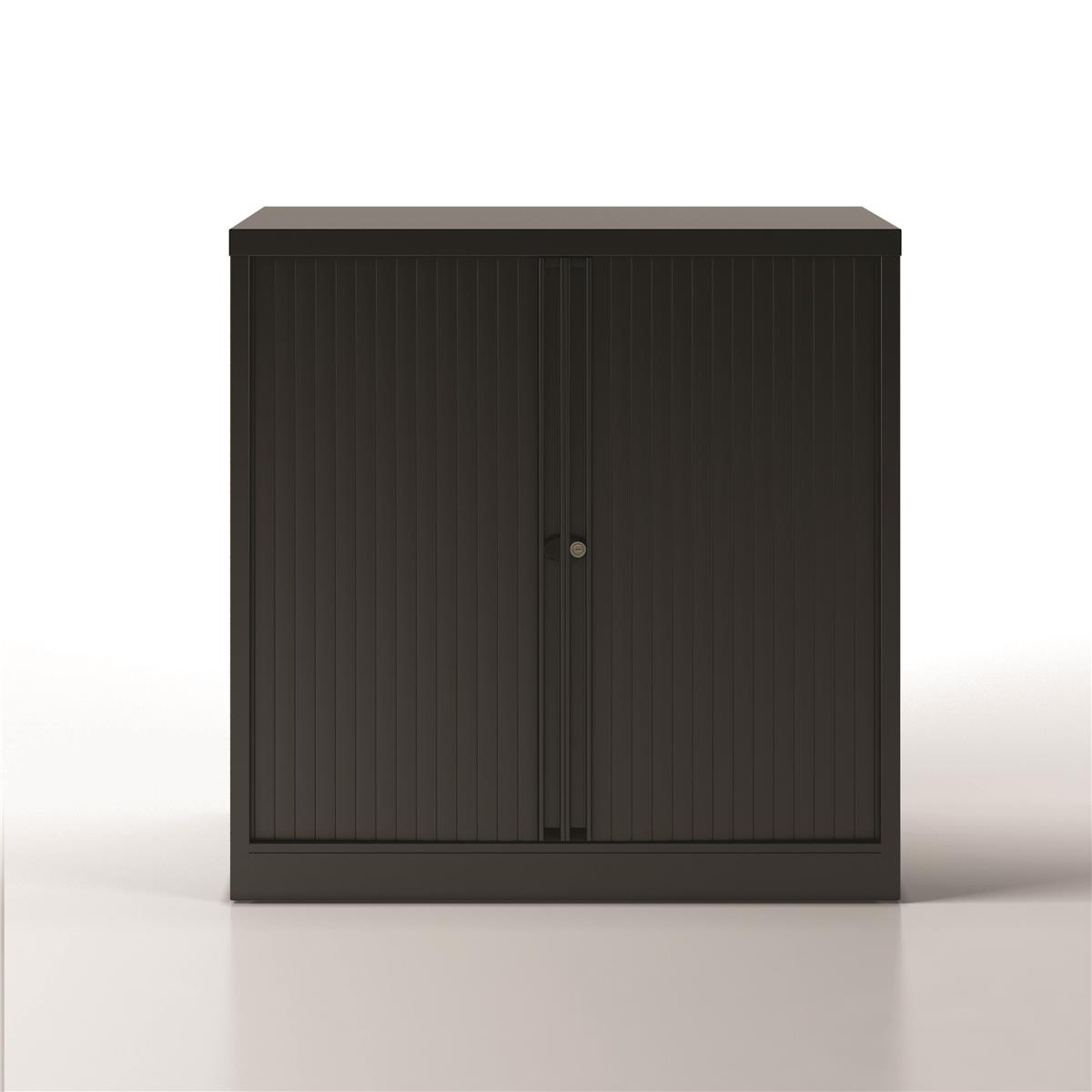 Trexus by Bisley Side Opening Tambour Door Cupboard 1000x470x1000-1015mm Black/​Black Ref YETB1010.5-av1