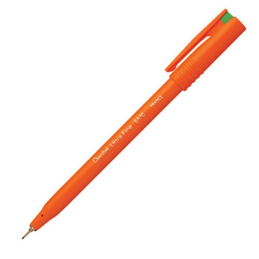 Pentel S570 Ultra Fine Pen Plastic 0.6mm Tip 0.3mm Line Green Ref S570-D Pack 12