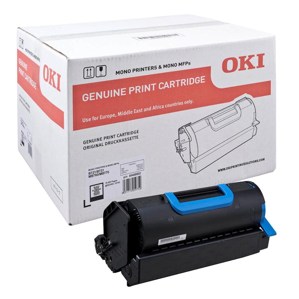 Laser Toner Cartridges OKI Laser Toner Cartridge Page Life 18000pp Black Ref 45488802