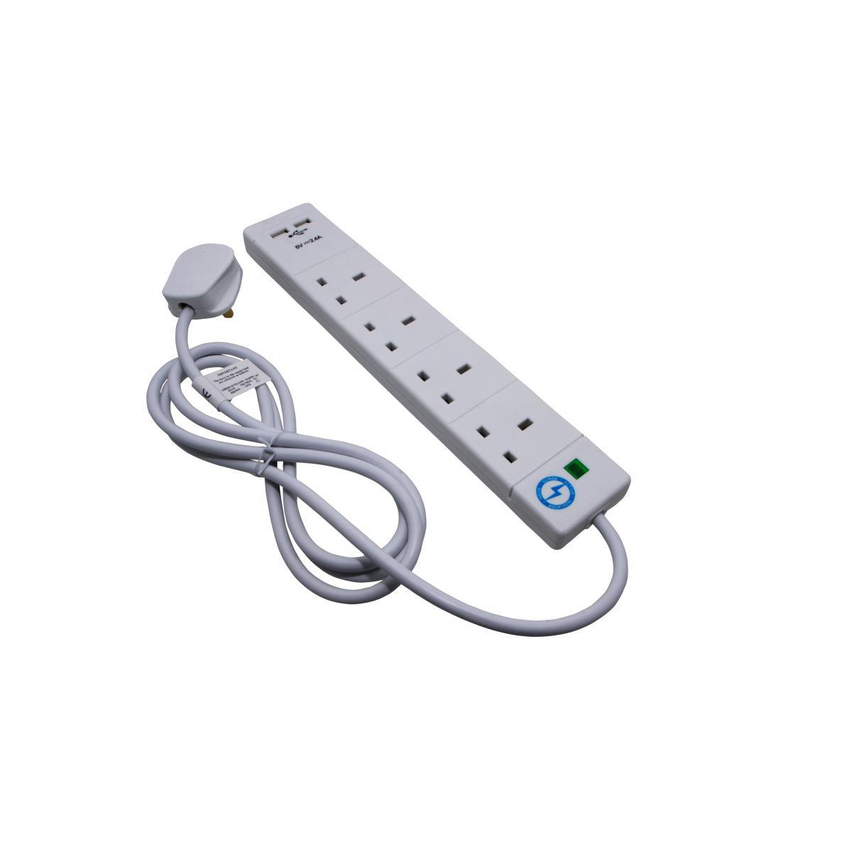 Cables & Adaptors SMJ Extension Lead 2-metre 4 Sockets 2 USB Charging Points Power Surge Indicator W170xD50xH405mm White
