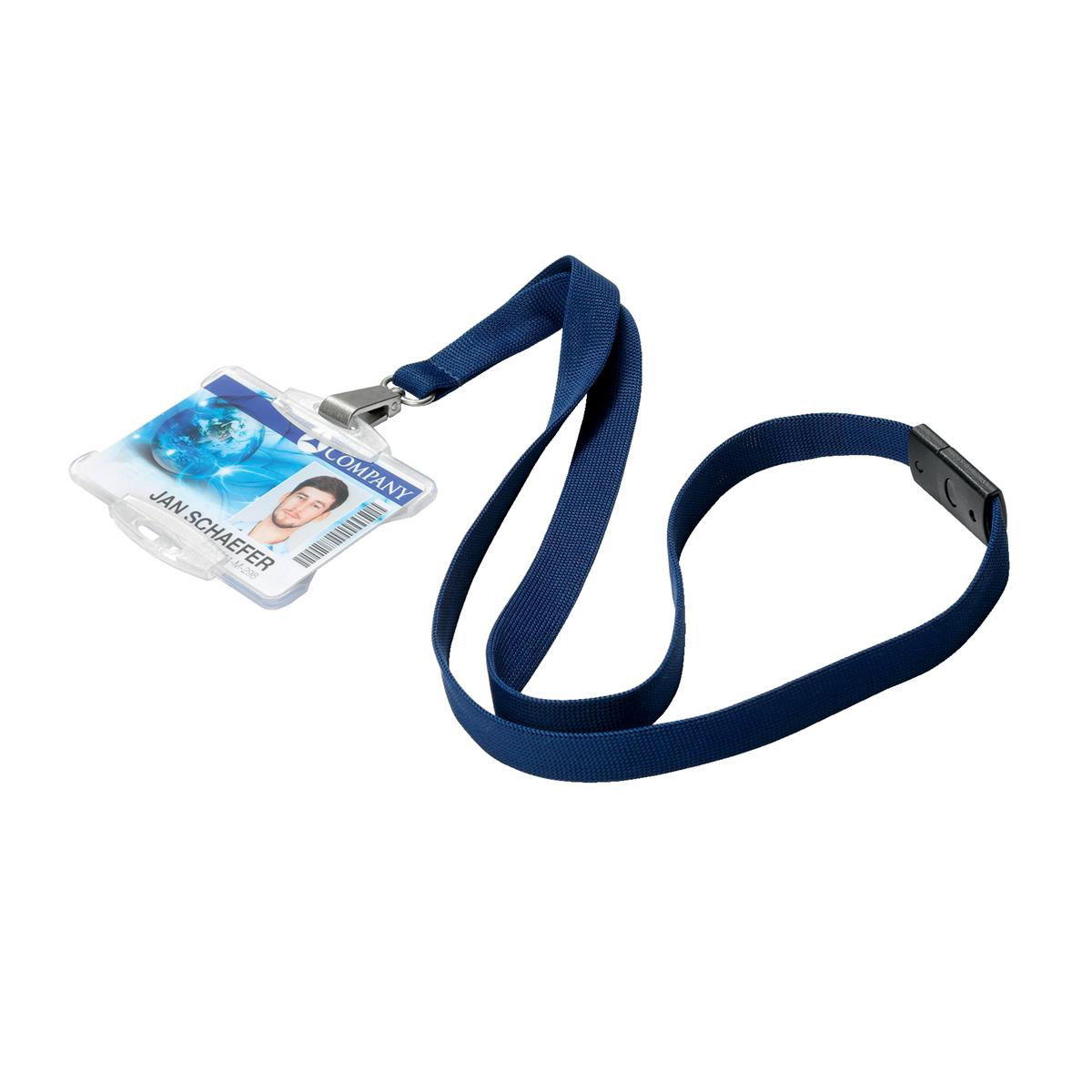 Durable Soft Textile Lanyard 15mmx440mm with 12mm Metal Snap Hook Midnight Blue Ref 812728 Pack 10