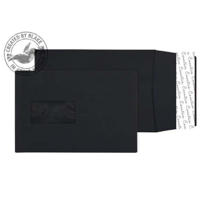 Purely Packaging Envelope Gusset P&S 140gsm C5 Window Black Ref 6141W Pack 125 *10 Day Leadtime*