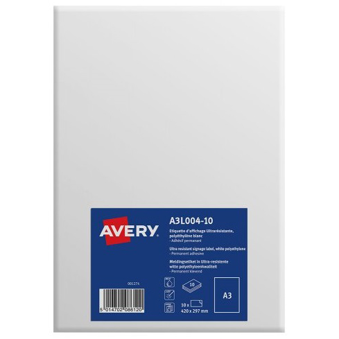 Avery Labels Permanent Ultra-resistant A3 Ref A3L004-10 Pack 10