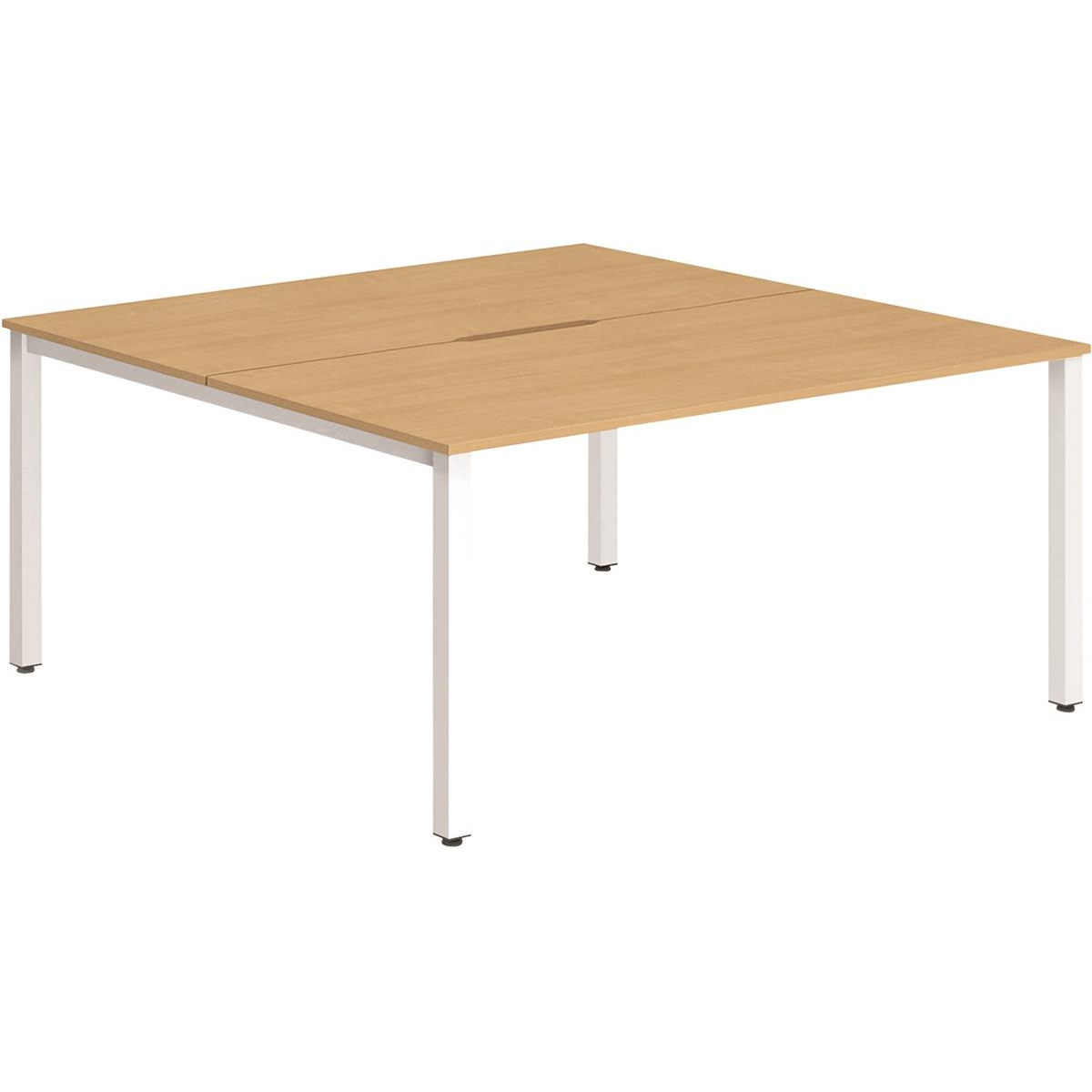 Trexus Bench Desk 2 Person Back to Back Configuration White Leg 1200x1600mm Beech Ref BE167