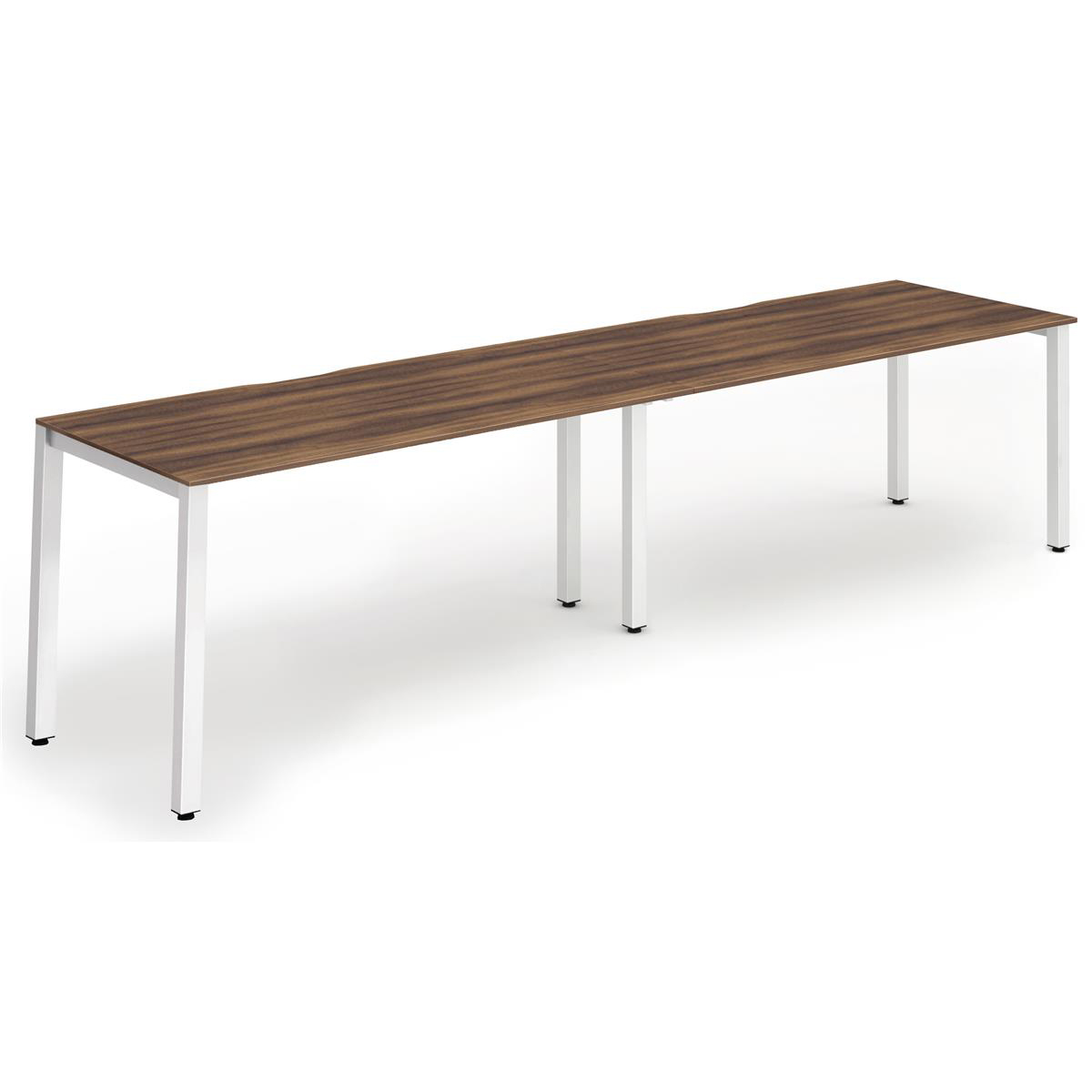 Trexus Bench Desk 2 Person Side to Side Configuration White Leg 3200x800mm Walnut Ref BE349