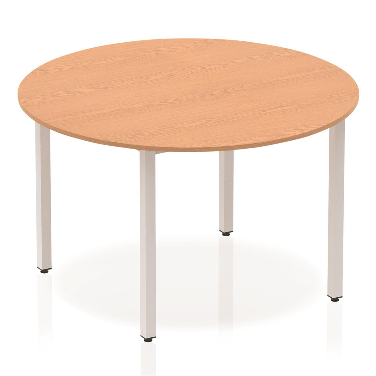 Trexus Circular Box Frame Silver Leg Table 1200mm Oak Ref BF00198