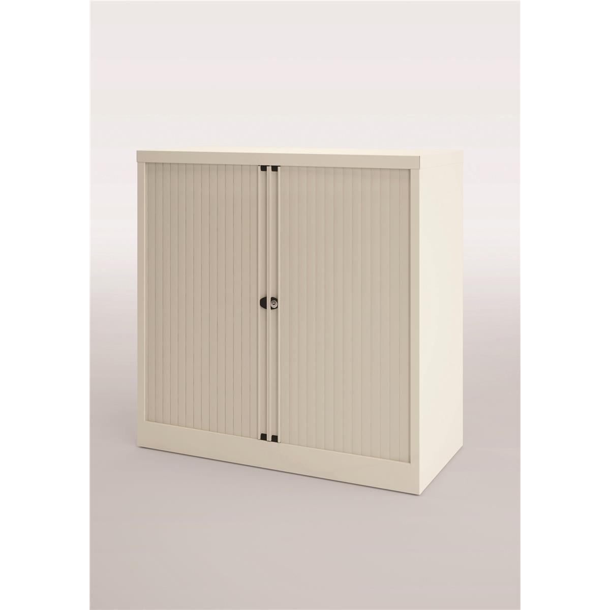 Trexus by Bisley Side Opening Tambour Door Cupboard 1000x470x1000-1015mm White/White Ref YETB1010.EW-ab9