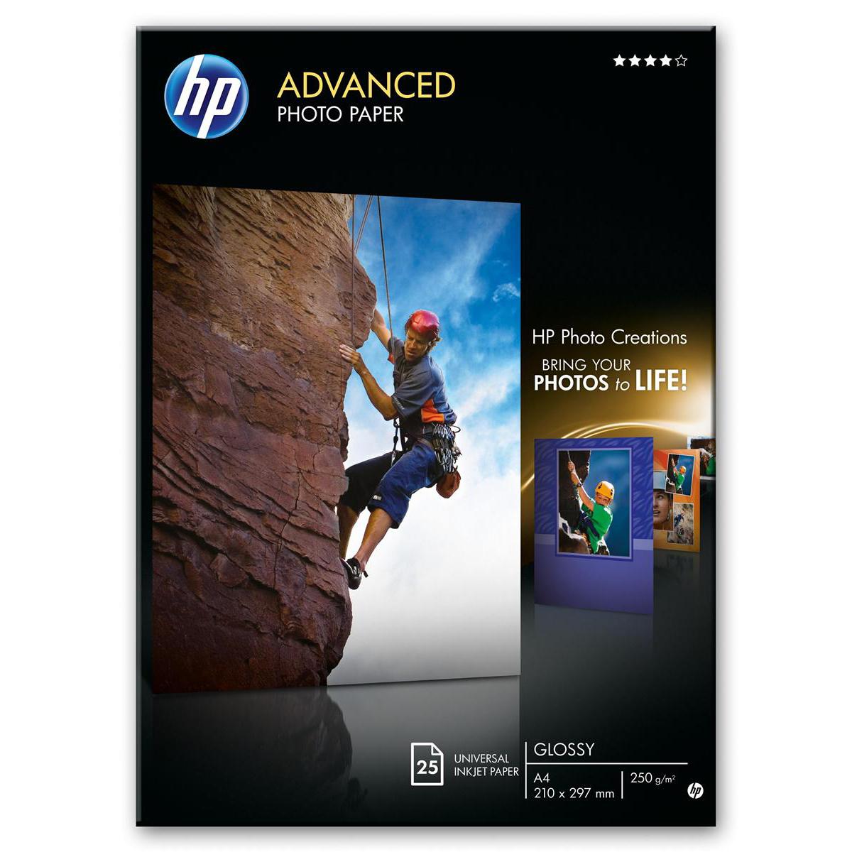 Hewlett Packard HP Advanced Photo Paper Gloss 250gsm 130x180mm Ref Q8696A 25 sheets