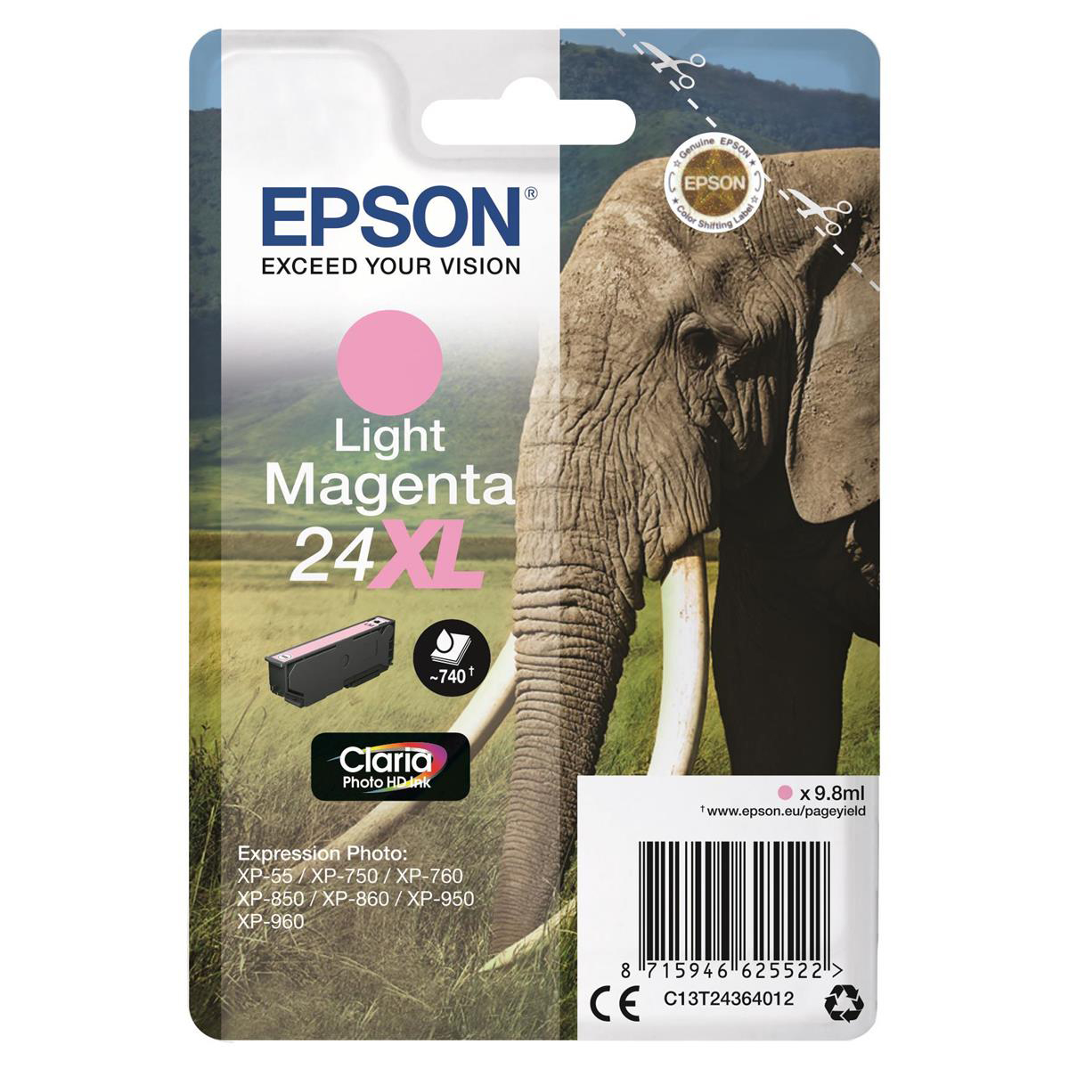 Epson 24XL Inkjet Cartridge Elephant High Yield 740pp 9.8ml Light Magenta Ref C13T24364012