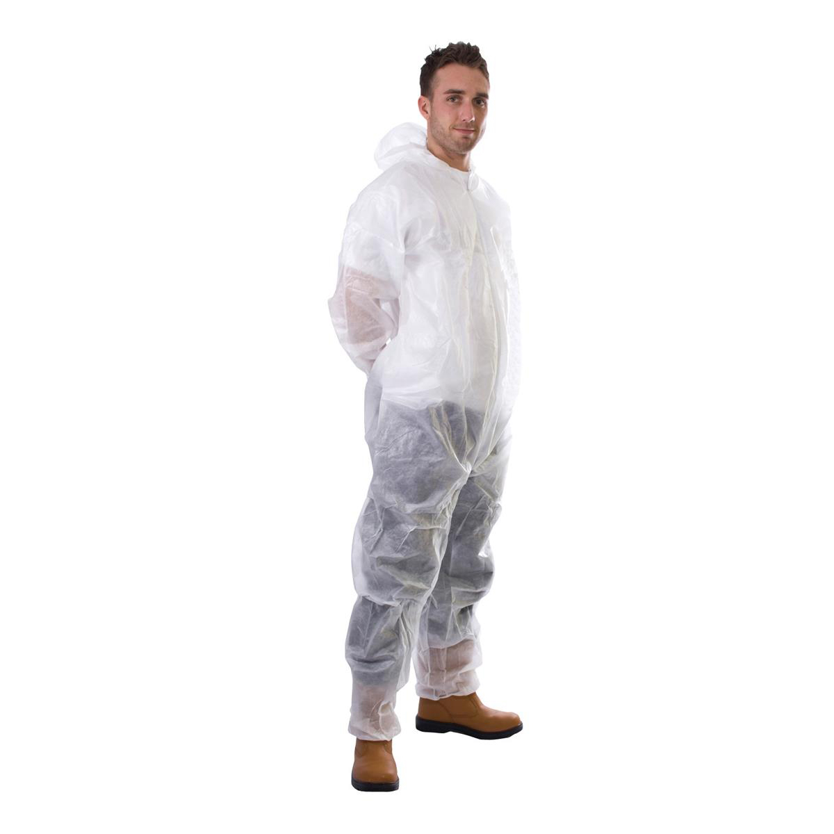 Supertouch Coverall Non-Woven PP Disposable with Zip Front XXLarge White Ref 17405